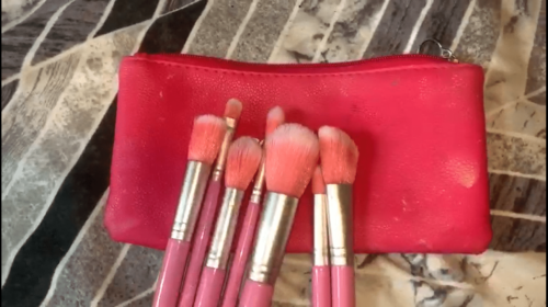 Washed makeup brushes
